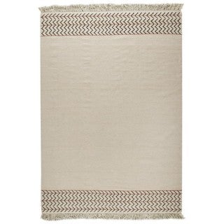 M.A.Trading Indian Hand-woven Valparaiso White Rug (4'6 x 6'6)