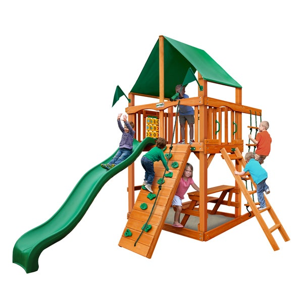 Gorilla Playsets Chateau Tower Swing Set with Amber Posts and Classic Green Vinyl Canopy