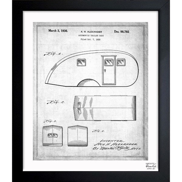 'Automobile Trailer Body 1936' Framed Blueprint Art