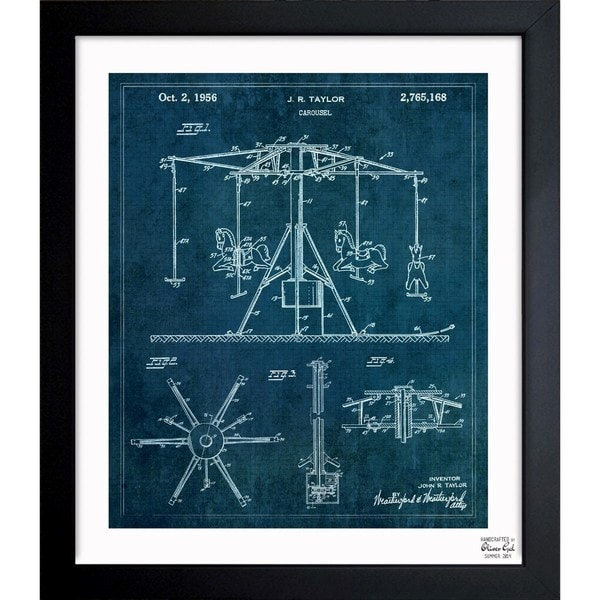'Carousel 1956' Framed Blueprint Art