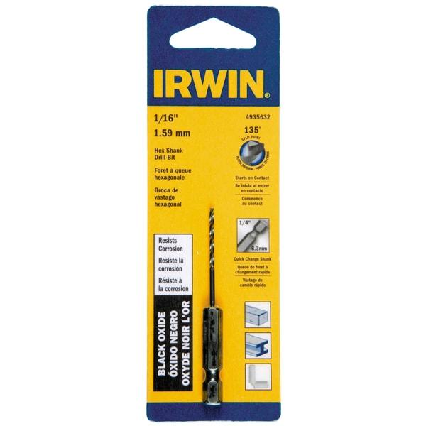 Irwin 4935632 1/16-inch x 2.625-inch Steel Hex Shank Drill Bit