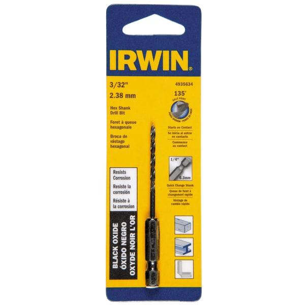 Irwin 4935634 3/32-inch x 3-inch Steel Hex Shank Drill Bit