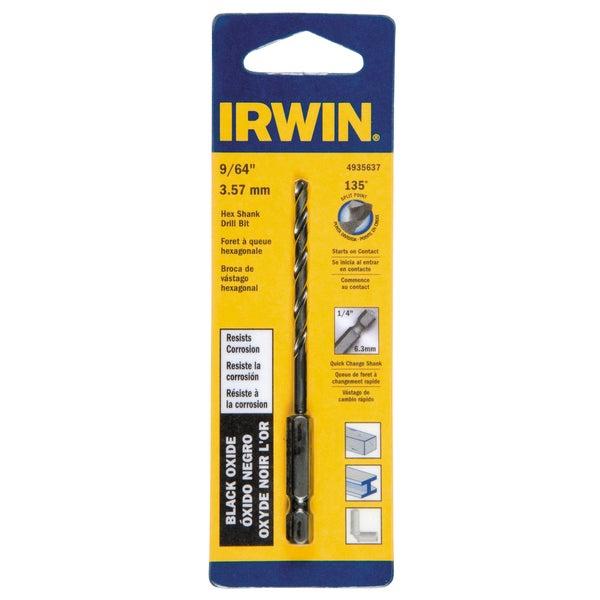 Irwin 4935637 9/64-inch x 3-3/16-inch Steel Hex Shank Drill Bit