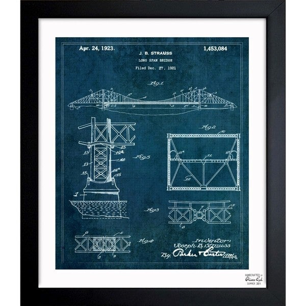'Long Span Bridge 1923' Framed Blueprint Art