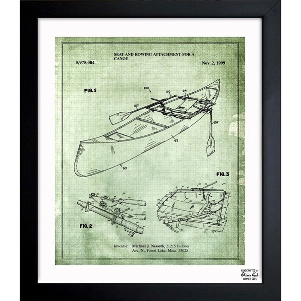 'Rowing Attachment For Canoe 1999' Framed Blueprint Art