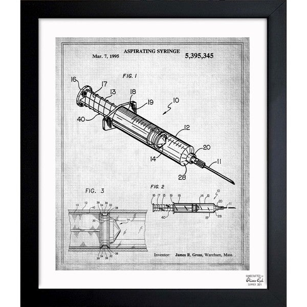 'Aspirating Syringe 1995' Framed Blueprint Art