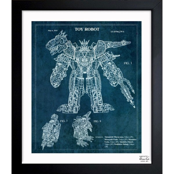 'Transforming Dinosaur Robot 2014' Framed Blueprint Art