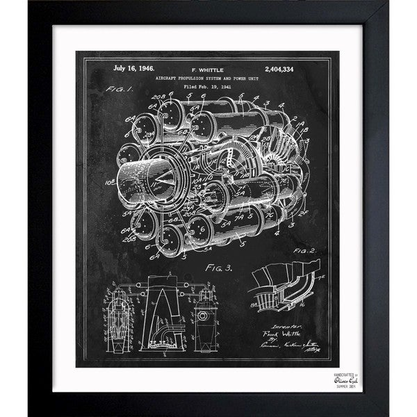 'Aircraft Jet Engine 1946' Framed Blueprint Art