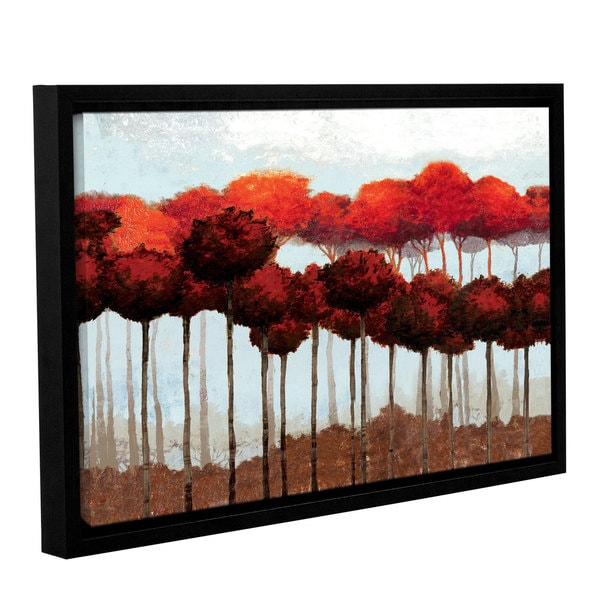 Pied Piper's ' Fall Red Trees' Gallery Wrapped Floater-framed Canvas 17788927