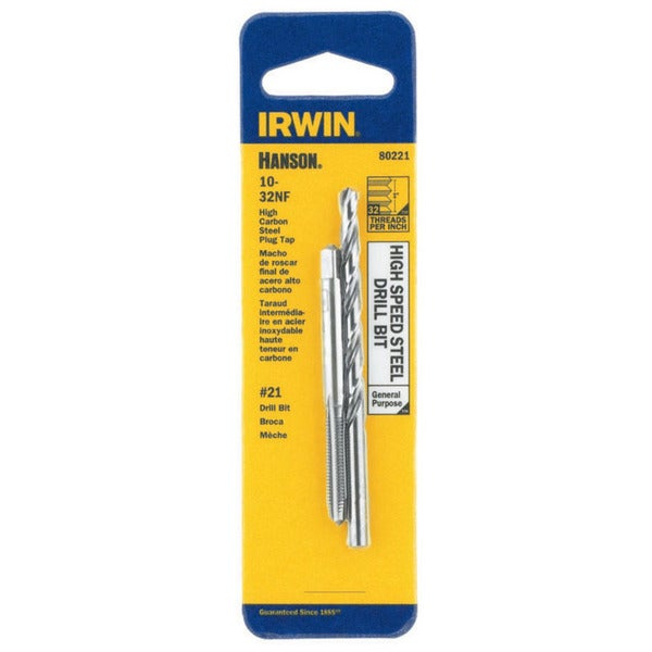 Irwin Hanson 80221 #21 10-32NF High Speed Steel Drill Bit and Tap