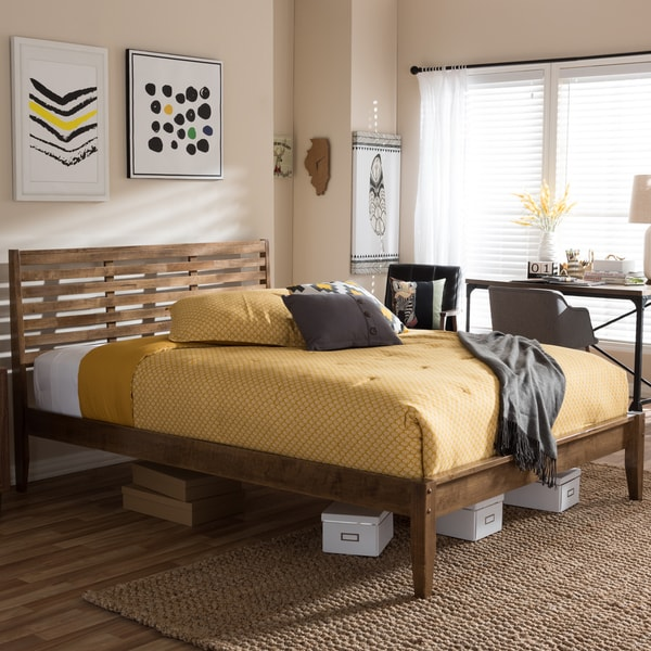 Baxton Studio Daylan Mid-century Modern Solid Walnut Wood Slatted Queen or King Size Platform Bed