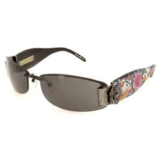 Ed Hardy Ehs-020 Black Solid Grey Skull Butterflies Sunglasses