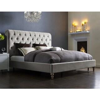Putnam Grey Velvet Bed Frame and Headboard