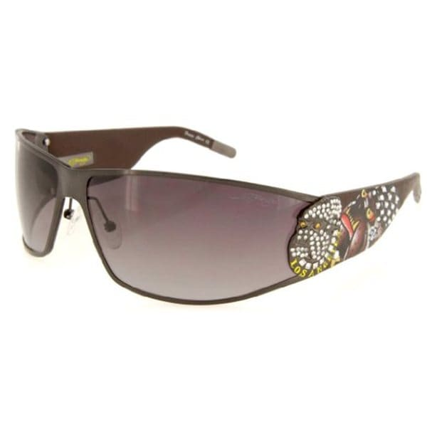 Ed Hardy Ehs-018 Gunmetal Grey Gradient La Dog Sunglasses