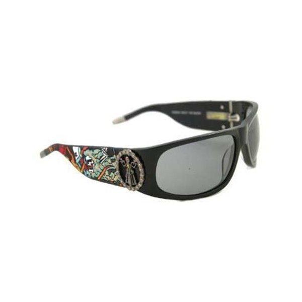 Ed Hardy Ehs-044 Black Grey Gradient Live To Ride Sunglasses 17789519