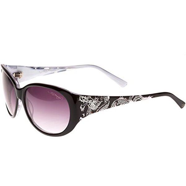 Ed Hardy Big Dragon Black/ White Grey Gradient 58 16 135 Sunglasses
