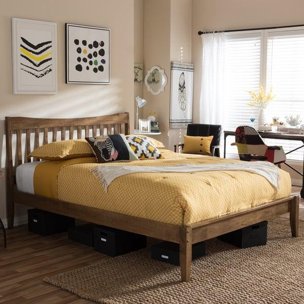Baxton Studio Errikos Mid-century Modern Solid Walnut Wood Curvaceous Slatted Platform Bed