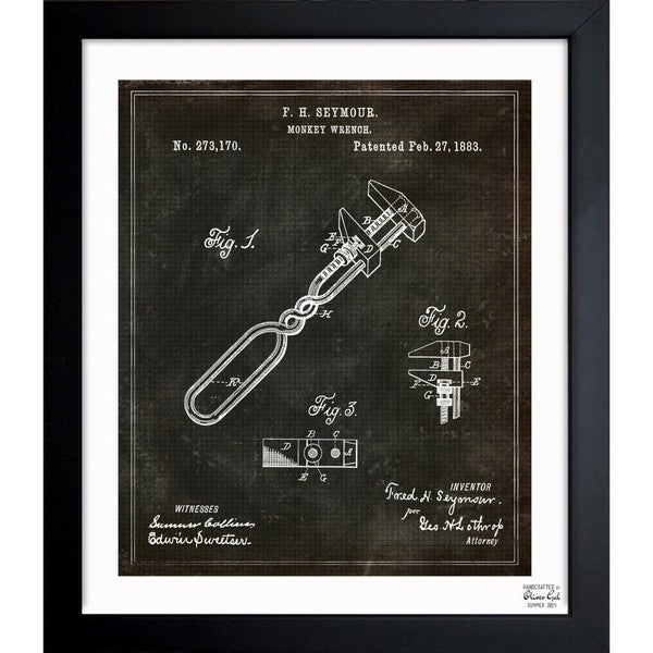 'Monkey-Wrench 1883' Framed Blueprint Art