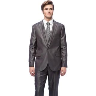 West End Men's Slim Fit Grey Vested Suit