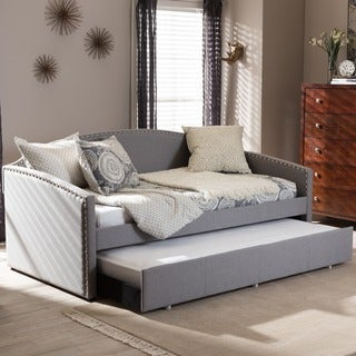 Baxton Studio Lefteris Modern Contemporary Fabric Nailheads Trimmed Arched Back Sofa Twin Daybed with Roll-out Trundle Guest Bed
