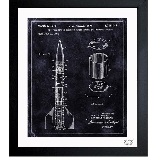 'Minature Rockets 1973' Framed Blueprint Art