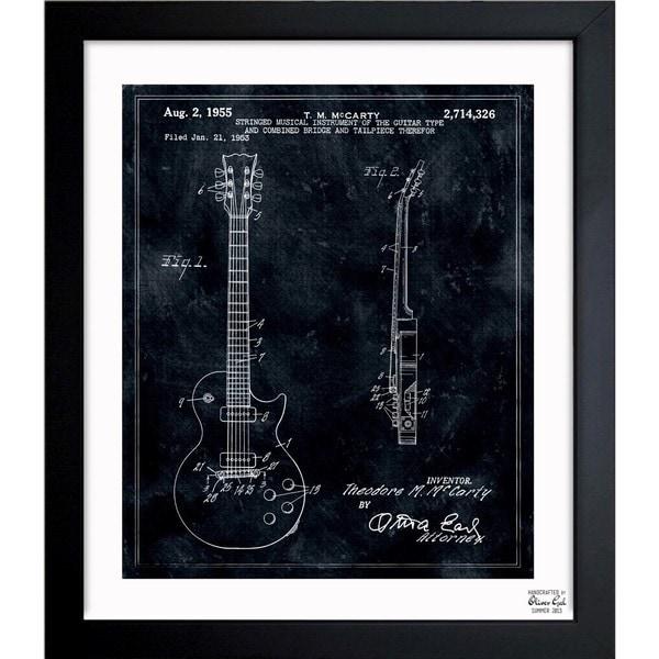 'Gibson Les Paul Guitar, 1955' Framed Blueprint Art