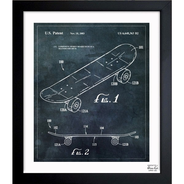 'Skateboard, 2033' Framed Blueprint Art