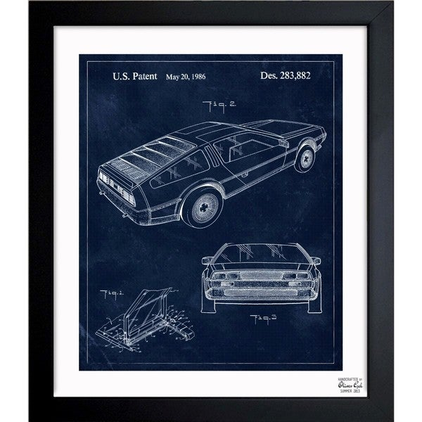 'Delorean, 1986' Framed Blueprint Art