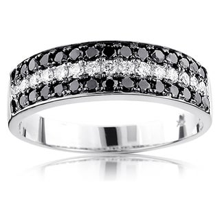 Luxurman 10k Gold 1 1/3ct. TDW Unique 3-row Diamond Wedding Band (H-I/Black, SI1-SI2/AAA)