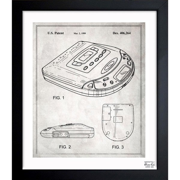'Portable CD-player 1999' Framed Blueprint Art
