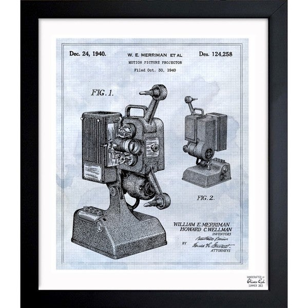 'motion picture projector 1940' Framed Blueprint Art