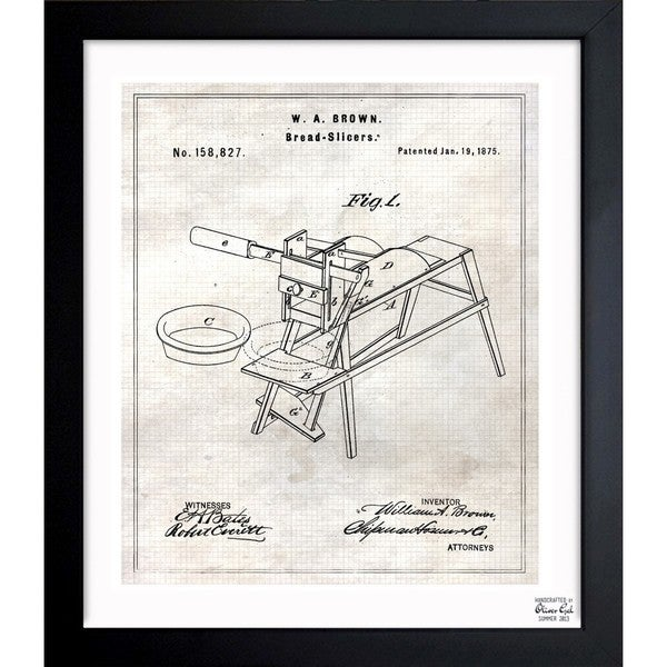'Sliced Bread 1875' Framed Blueprint Art