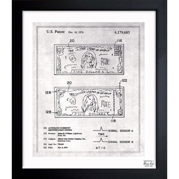 'currency identification system 1979' Framed Blueprint Art