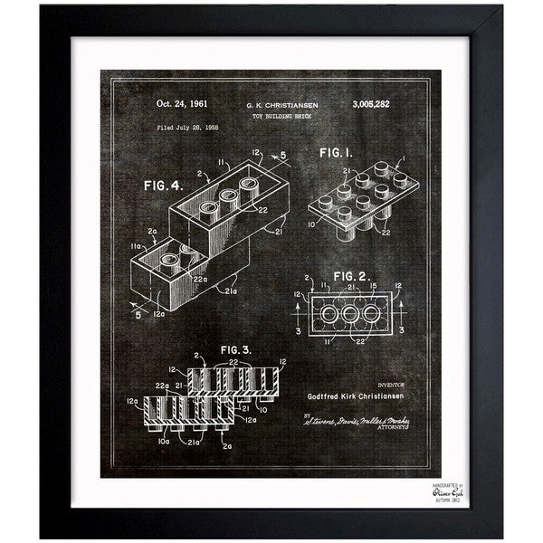 'Lego Toy Building Brick 1961' Framed Blueprint Art