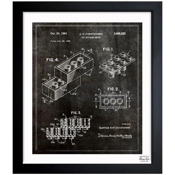 'Lego Toy Building Brick 1961' Framed Blueprint Art