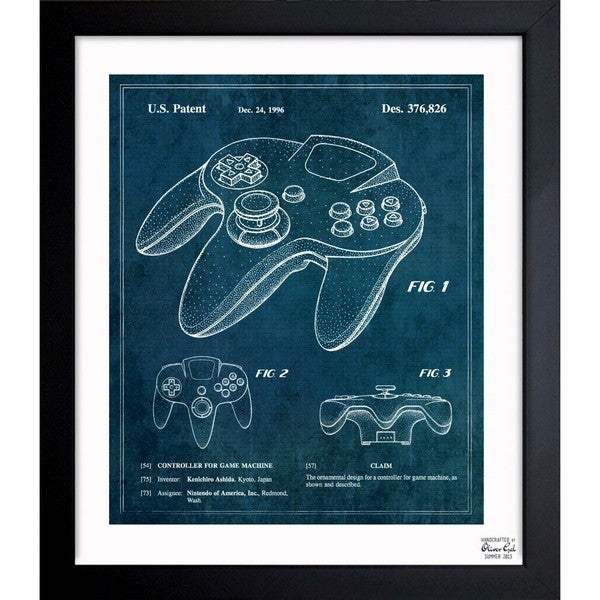 'Controller For Game Machine 1996' Framed Blueprint Art