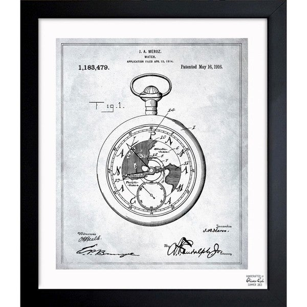 'Watch 1914' Framed Blueprint Art