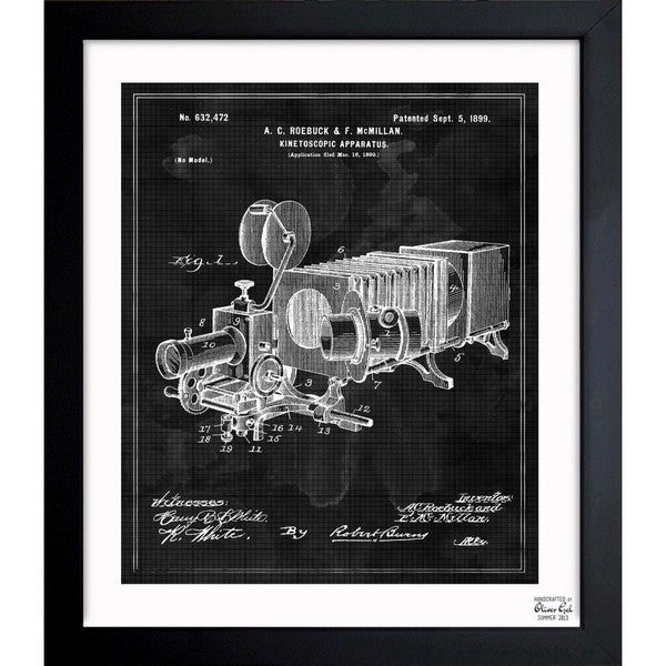 'Kinetoscopic Apparatus 1899' Framed Blueprint Art