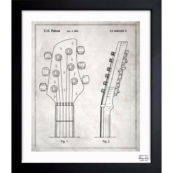 'Head Stock Of Guitar 2003' Framed Blueprint Art