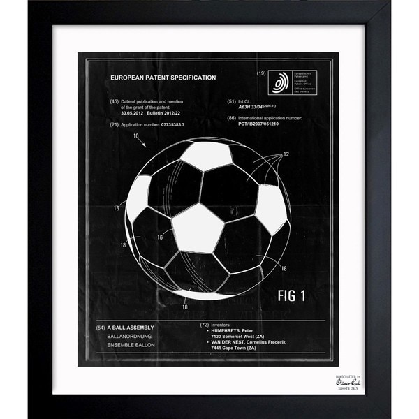 'Soccer Ball 2012' Framed Blueprint Art