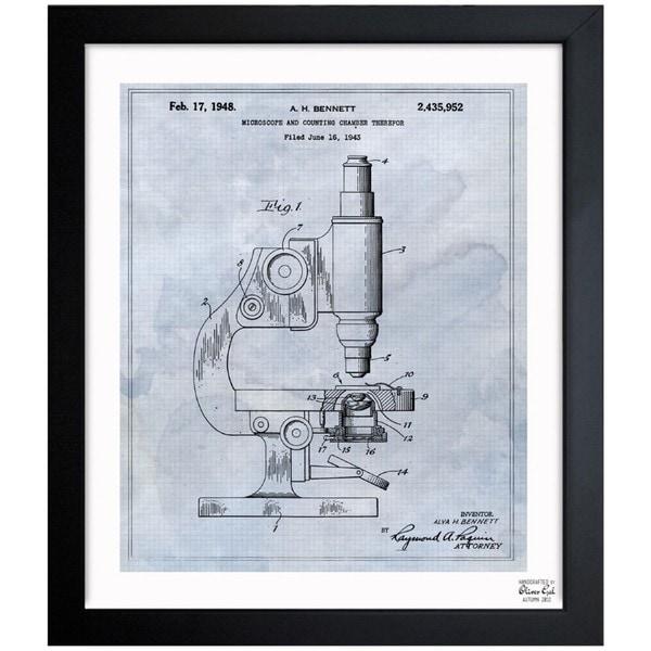 'Microscope 1948' Framed Blueprint Art