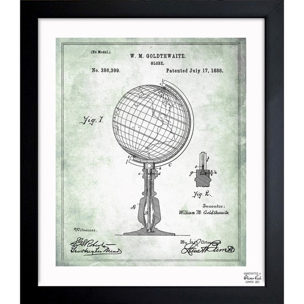 'Globe 1888' Framed Blueprint Art