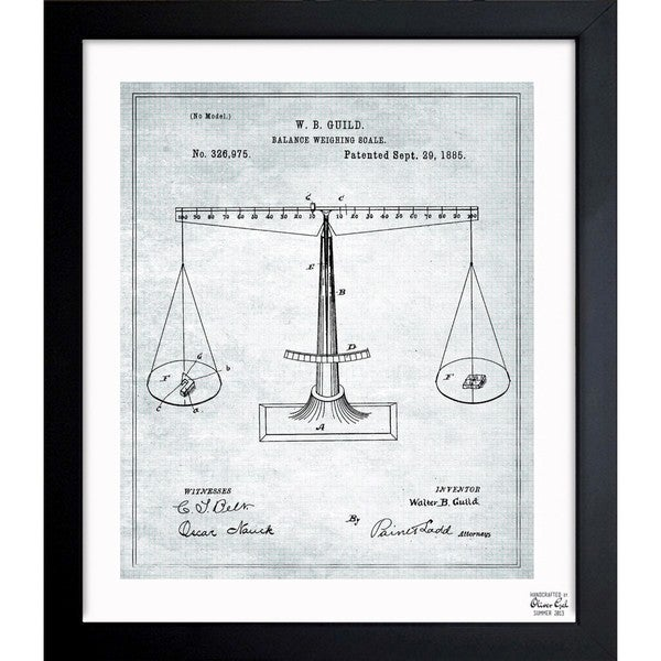 'Balance Weighing-Scale 1885' Framed Blueprint Art