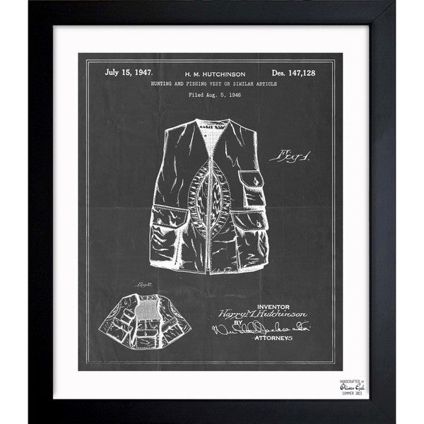 'Hunting And Fishing Vest 1947' Framed Blueprint Art