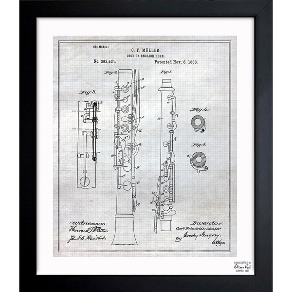 'Oboe 1888' Framed Blueprint Art