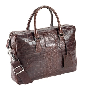 Bugatti Perth Croco Embossed Italian Leather 13-inch Laptop Briefcase