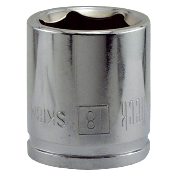 "Great Neck SK18M 18MM X 3/8"" Drive 6 Point Socket Metric"