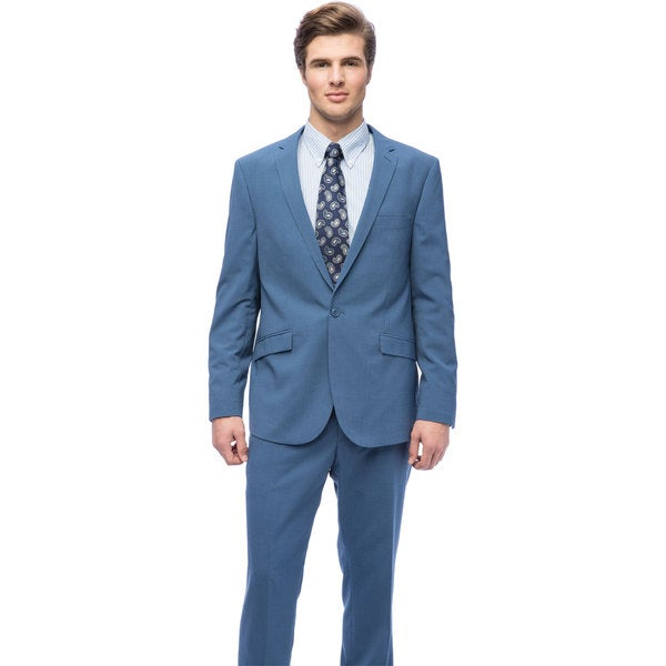 West End Men's Young-Look Slim-Fit Blue 1-button Suit