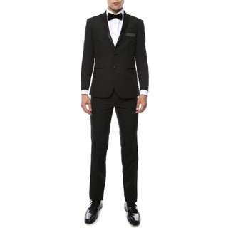 Paul Lorenzo 1969 by Ferrecci Mens Black Slim Fit 2pc Tuxedo