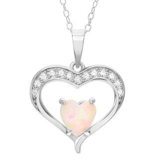 Journee Collection Sterling Silver Cubic Zirconia Opal Heart Pendant